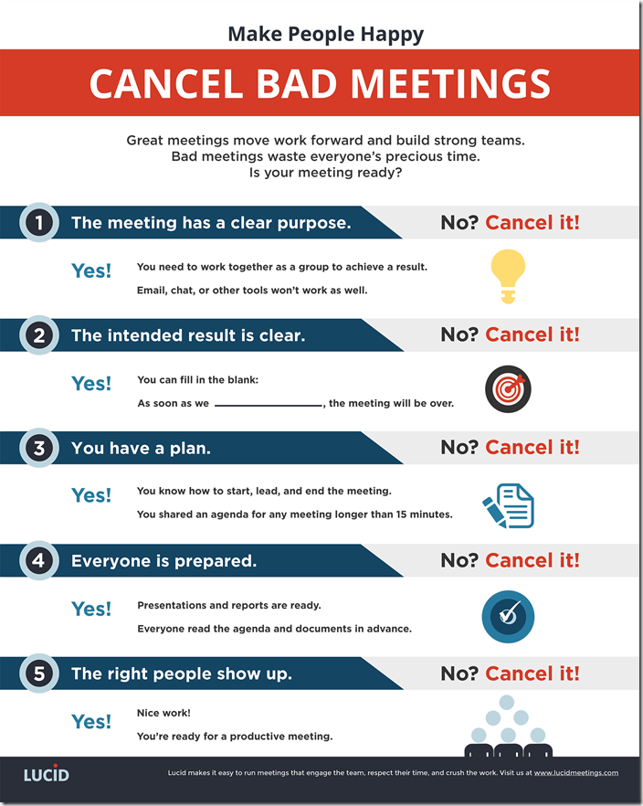 Calendar Management Tip #14: stay on top of your schedule by cancelling meetings if you think they're going to be a waste of time