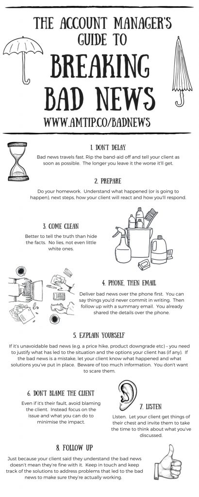 The Account Managers Guide to Breaking Bad News To Clients Infographic.  8 steps to delivering bad news effectively to customers that will help you deliver the news in a positive way and without destroying your relationship.